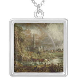 Salisbury Cathedral From the Meadows, 1831 Silver Plated Necklace