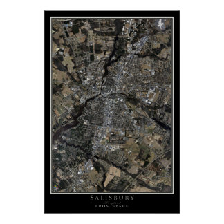Salisbury Maryland From Space Satellite Art Poster