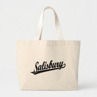 Salisbury script logo in black distressed jumbo tote bag