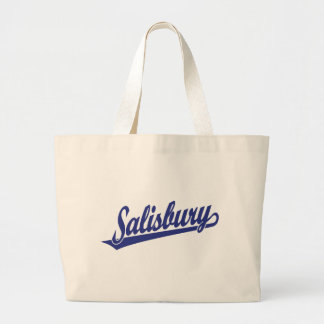 Salisbury script logo in blue jumbo tote bag