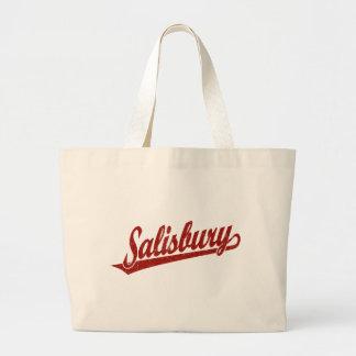 Salisbury script logo in red distressed jumbo tote bag