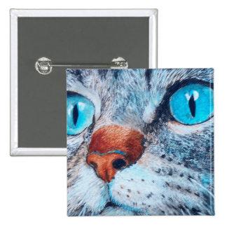 Sally el gato observado azul pin cuadrado