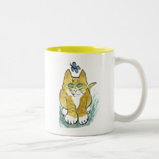 Sally, gatito de la mermelada ve una mariposa taza de café