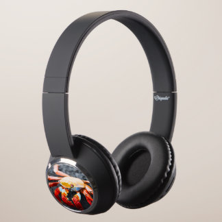 Sally lightfoot crab on a black lava rock headphones