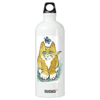 Sally, Marmalade Kitten sees a Butterfly Aluminum Water Bottle