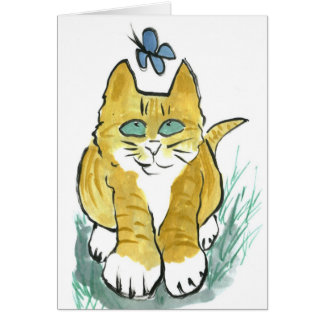Sally, Marmalade Kitten sees a Butterfly Greeting Card