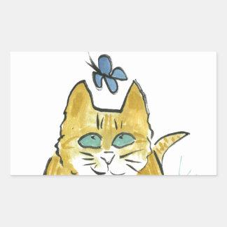 Sally, Marmalade Kitten sees a Butterfly Rectangular Sticker