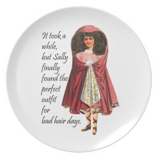 Sally y su mala placa del pelo plato para fiesta