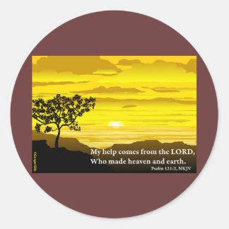 Salmo 121 mi ayuda etiqueta redonda