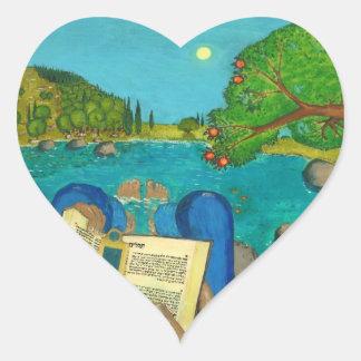 Salmo 1 - El hombre lee el salmo 1 en biblia hebre Calcomanía De Corazón