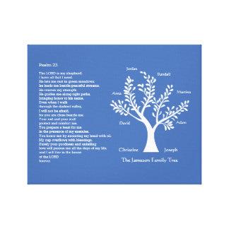 Salmo 23 A MÁS TARDAR con árbol de familia, Impresión En Lienzo