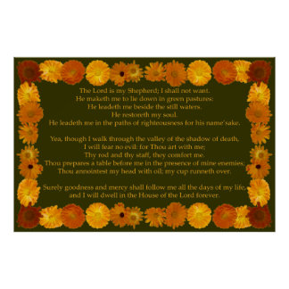 Salmo 23 con el marco del Calendula Poster