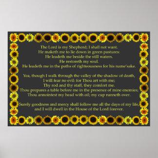 Salmo 23 con el marco del girasol poster