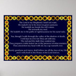 Salmo 23 con el marco del girasol impresiones