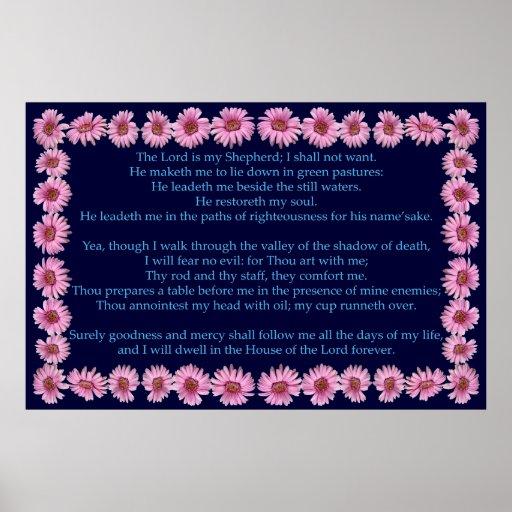 Salmo 23 con el marco rosado de la margarita póster