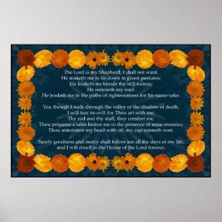 Salmo 23 con un marco del Calendula Impresiones