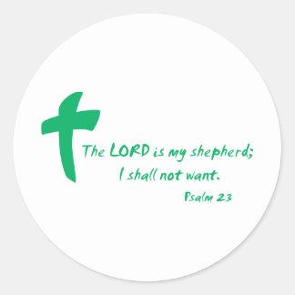 Salmo 23: El señor es mi pastor Pegatina Redonda