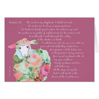 Salmo 23, ovejas, fondo de la madreselva tarjeta de felicitación