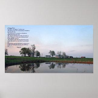Salmo 23 poster de la charca de la granja
