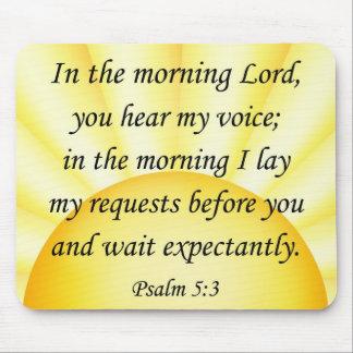 Salmo 5 3 del mousepad del verso de la biblia