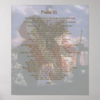 Salmo 91 del refugio de un soldado póster