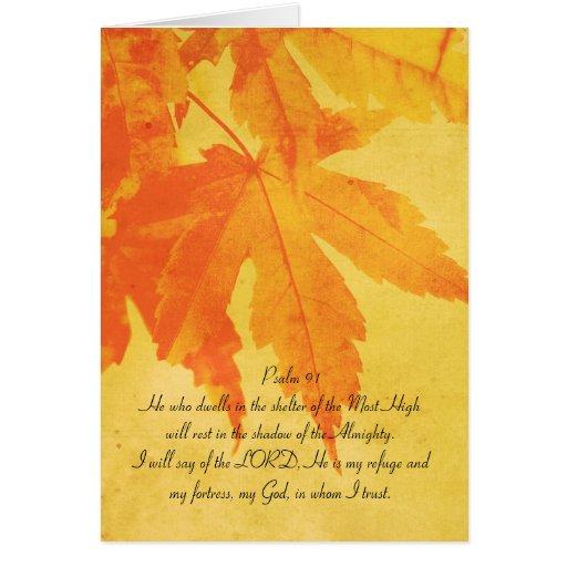 Salmo 91 todo el texto, hojas de arce anaranjadas tarjetón