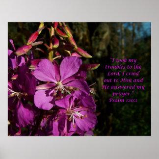Salmo del 120:1 del salmo del poster de la flor de