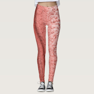 Salmon and Brick Red Embroidery Patterned Leggings