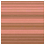 [ Thumbnail: Salmon and Brown Lined Pattern Fabric ]