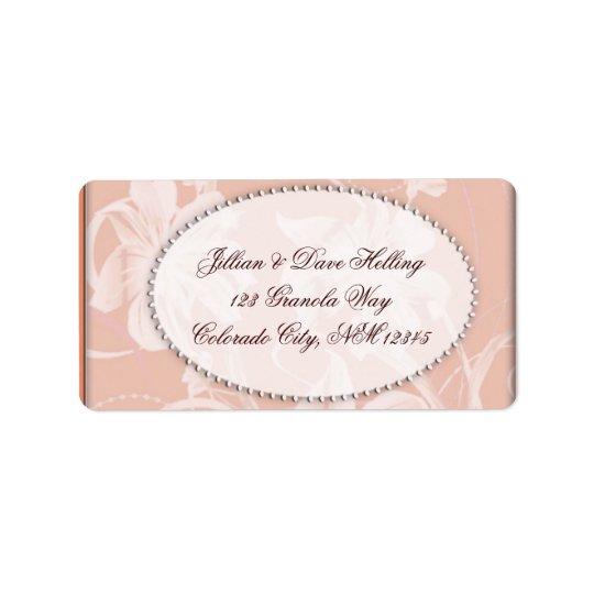 Salmon and cream damask pattern label