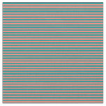 [ Thumbnail: Salmon and Dark Cyan Colored Lines Fabric ]