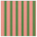 [ Thumbnail: Salmon and Dark Green Colored Lined Pattern Fabric ]