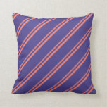 [ Thumbnail: Salmon and Dark Slate Blue Colored Pattern Pillow ]