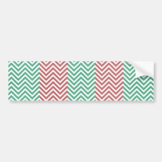 Salmon and Green Chevron Striped Zig Zags Bumper Sticker