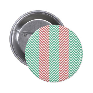 Salmon and Green Chevron Striped Zig Zags Buttons