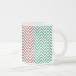Salmon and Green Chevron Striped Zig Zags Frosted Glass Coffee Mug
