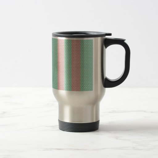 Salmon and Green Chevron Striped Zig Zags Mugs