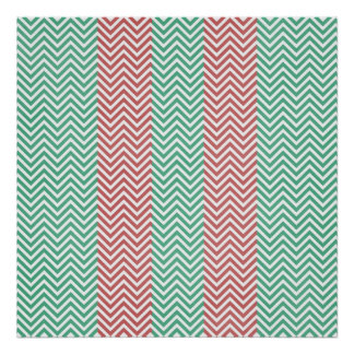 Salmon and Green Chevron Striped Zig Zags Posters