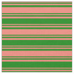 [ Thumbnail: Salmon and Green Colored Pattern Fabric ]