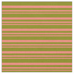 [ Thumbnail: Salmon and Green Lines Pattern Fabric ]