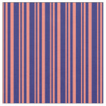 [ Thumbnail: Salmon and Midnight Blue Stripes/Lines Pattern Fabric ]