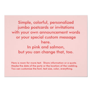 Salmon and pink colorful customized personalized card