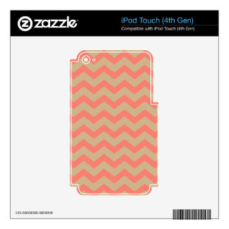 Salmon and Tan Chevron iPod Touch 4G Decals