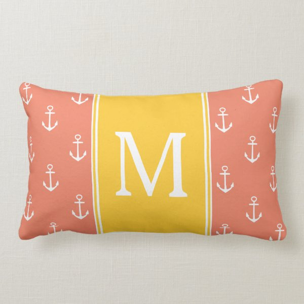 Salmon and White Anchors With Sunset Monogram Lumbar Pillow