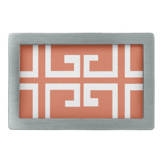 Salmon and White Tile Belt Buckles