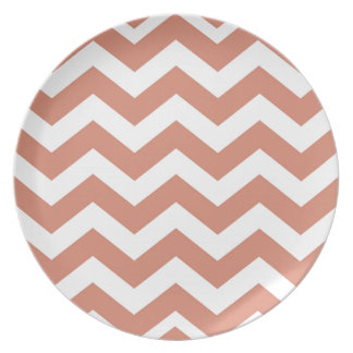 Salmon and White Zigzags Melamine Plate