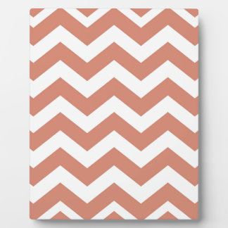 Salmon and White Zigzags Plaque