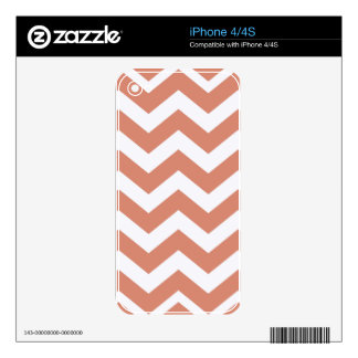 Salmon and White Zigzags Skins For iPhone 4S
