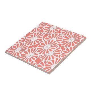Salmon Asian Moods Floral Ceramic Tile