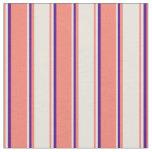 [ Thumbnail: Salmon, Beige & Indigo Colored Lines Fabric ]